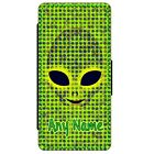 PERSONALISED ALIEN FACE PRINT iPHONE PU LEATHER FLIP CASE CHOOSE YOUR MODEL