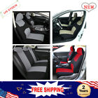 Polyester Car Seat Covers 9 Parts Set W/steering Belt Pad/head Rest 4 Colors