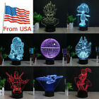 Star Wars 3D LED Night Light Touch Table Desk Lamp Birthday Bedroom Gift 7 Color $31.33 USD