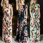 Dress Summer Flower Party Long Women O-Veck Boho Style Printed Floral Maxi Dress