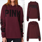 Women PINK Hoodie Long Sleeve Sweatshirt Hooded Sweater Jumper Pullover Coat Top