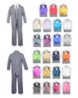 7pc Baby Toddler Boy Formal Party Medium Gray Suit w/Satin Vest & Bow Tie 2T-20