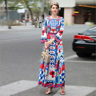 Women's 2018 Spring Beads Embellished Printed Baroque Maxi Dress #17122310