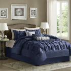 BEAUTIFUL MODERN RUFFLED NAVY BLUE GREY PINTUCK PLEAT SOFT RUCHED COMFORTER SET
