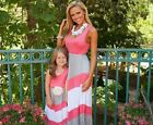 US Summer Mother-Daughter Striped Beach Dress Long Maxi Dress Ball Gown Sundress