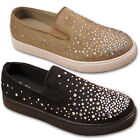 Womens Ladies Star Stud Girl Plimsolls Flat Trainers Pumps Shoe Size 3 4 5 6 7 8