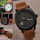 New Men's Cool Leather Military Watches Quartz Strap Sport Analog Wrist Watch