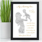 PERSONALISED Mum Mummy and Daughter Word Art Birthday Christmas Gifts for Mum
