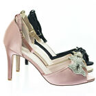 Paris15 Rhinestone Bow Satin Peep Toe Open Shank D'Orsay Cutout Dress Pump