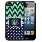 PERSONALIZED RUBBER CASE FOR iPHONE X 8 7 6 5 5C SE PLUS MINT CHEVRON POLK A DOT