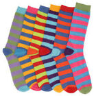 6 Pairs Childrens Kids Bright Striped Coloured Heal Ankle Socks Funky, FREE P&P