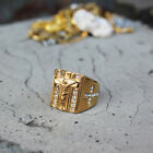 Elvis Presley TCB Concert Jesus Cross Crystal Iced Out Gold Plated 8-13 Men Ring