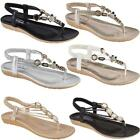 Ladies Gladiator Sandals Womens Low Wedge Heel Strappy Summer Beach Shoes Size