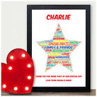 Personalised Star Word Art Thank You Gift For Page Boy Usher Best Man Wedding