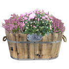 Personalised Large Oval Wooden Garden Planter Large Flower Pot Engraved Gift