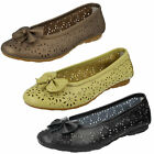 LADIES LIFESTYLE ROCHDALE SLIP ON LEATHER BALLERINA FLATS CASUAL SUMMER SHOES