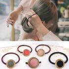 Women Vintage Button Hairband Ponytail Holder Elastic Hair Tie Band Scrunchie KM