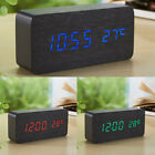 Wooden Led Digital Table Desk Alarm Clock Wood Clocks Temperature