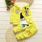 3Pcs Kids Baby Boy Girl Mickey Mouse Outerwear Coat Jacket Pant Shirt Outfit Set