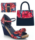 Ruby Shoo Molly Fabric Wedge Sandals & Lima Bag & Como Purse UK 3-8 36-41