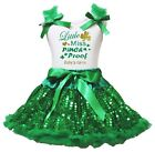 Personalize Little Miss Pinch Proof White Top Green Sequins Girls Skirt Set 1-8Y