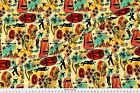 International Exotic James Bond Red Yellow Fabric Printed by Spoonflower BTY $26.5 USD