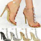 New Womens Ladies Perspex High Heel Jewel Stiletto Sandals Strappy Shoes Size