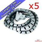 5x 1.5m 28mm Cable Tidy Spiral Cord Wire Organiser Office TV PC Phone iPad Home