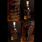 Sons Of Anarchy - Empty Engraved Whiskey Bottle, Glass + FREE UK Post