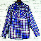 Mens 100% Pure Cotton Flannelette Flannel Blue Red Check Shirt Sz S-XXL