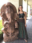 Boho Gypsy Hippie Divided Maxi Skirt Vintage Printed Smocked Waist Long Skirts