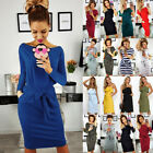 UK Womens Casual Pocket Summer Ladies Short Sleeve Evening Party Midi Dress 6-16