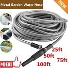 100 Ft Stainless Steel Metal Garden Water Hose Lightweight Flexible Resistant OY