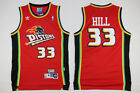 Grant Hill 33 Detroit Pistons Mens Red Hardwood Classics Throwback Jersey
