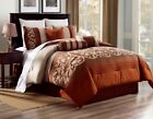 3PC ALEX #8 RUST BROWN BEIGE WESTERN Embroidered DUVET COMFORTER BED COVER SET image