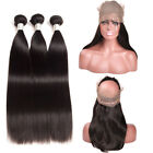 4 Pcs Set Brazilian Straight Human Hair 360 Lace Frontal Closure Non Remy Weave