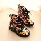Girls Kids Ankle Boots Lace Up Floral Print Booties Child Flat Martin Shoes Size