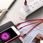 Stylish simple triple multi-color synchronous fast charging cable.
