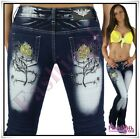 Sexy Women's Crazy Age Jeans Ladies Tattoo Bootcut Trousers Size 6,8,10,12,14 UK