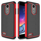 For LG Aristo 2 / Zone 4 Hybrid Impact Armor Phone Case + Glass Screen Protector