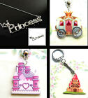 PRINCESS CROWN CASTLE EARRINGS PENDANT CHARM NECKLACE OR KEYRING BRONZE SILVER