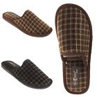 Mens Slip On Indoor Tartan Bedroom House Home Lounge Checked Mule Slippers Size