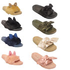 Kids Girls Fur Bunny Ears Children Sliders Flats Shoes Slides Flip flops Size
