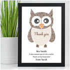 Personalised Wise Owl Teacher Thank You Gifts Leaving School Print Gift Present