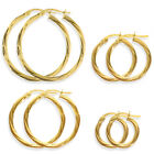 9CT GOLD ROUND TWIST EARRINGS TUBE RIBBED PATTERENED RIBBON HOOP SLEEPER CREOLE