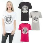 Ladies Fearless Slogan Print Round Neck Short Sleeve Womens Tee Top T-Shirt Size
