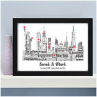 Personalised Word Art Engagement NEW YORK Skyline Picture Print Gift Present