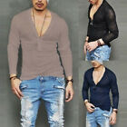 Men's Casual Summer V-neck Slim Fit Long Sleeve Cool T-shirt Linen T Shirt Tops