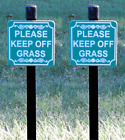 "Lot of 2 - ""PLEASE KEEP OFF GRASS"" small size Lawn Signs - FREE SHIPPING"