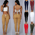 Women Pocket Sports Pencil Pants Slim Fit Jogger Sweatpants